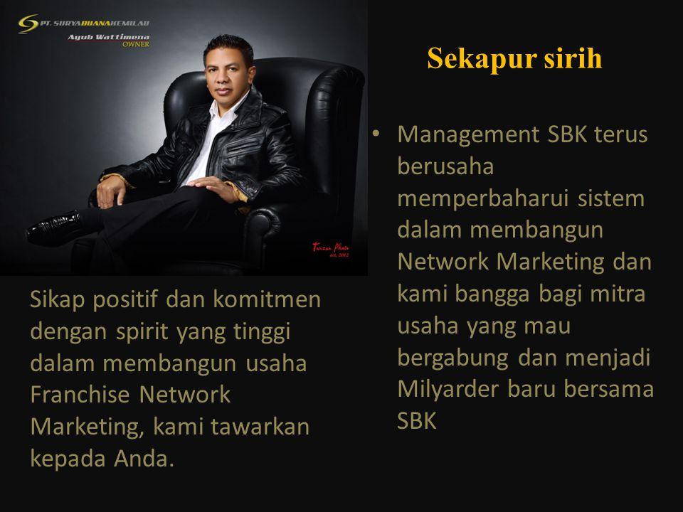 • Management SBK terus berusaha memperbaharui sistem dalam membangun Network Marketing dan kami bangga bagi mitra usaha yang mau bergabung dan menjadi