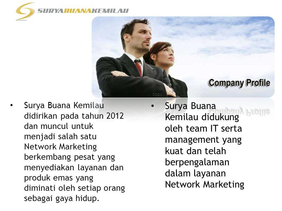 • Surya Buana Kemilau didirikan pada tahun 2012 dan muncul untuk menjadi salah satu Network Marketing berkembang pesat yang menyediakan layanan dan produk emas yang diminati oleh setiap orang sebagai gaya hidup.