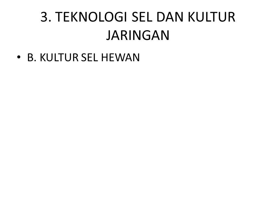 3. TEKNOLOGI SEL DAN KULTUR JARINGAN • B. KULTUR SEL HEWAN