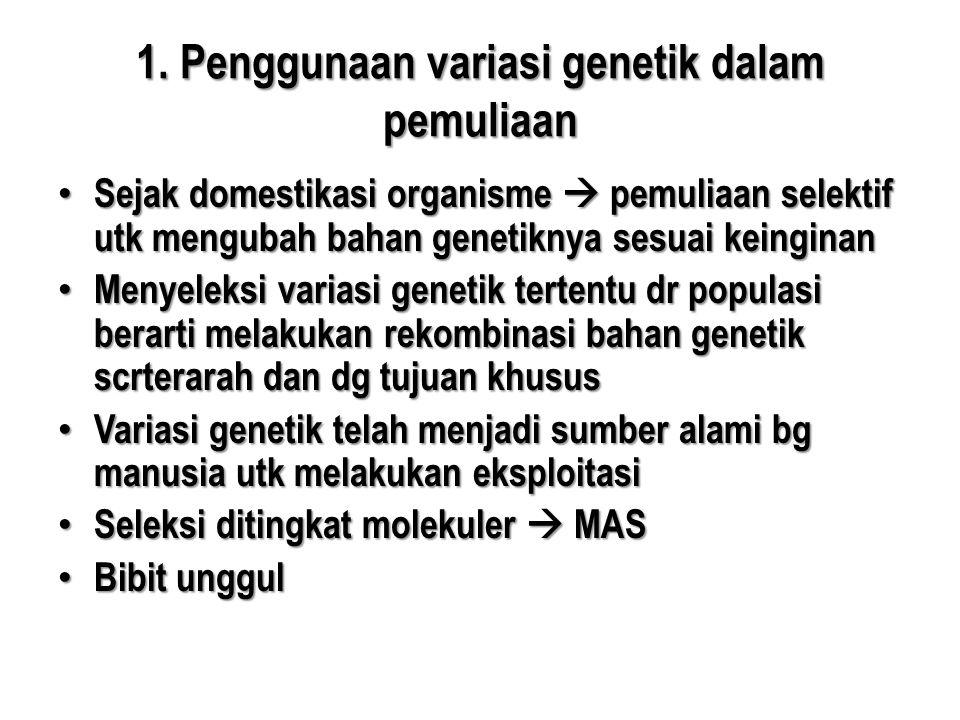 1. Penggunaan variasi genetik dalam pemuliaan • Sejak domestikasi organisme  pemuliaan selektif utk mengubah bahan genetiknya sesuai keinginan • Meny