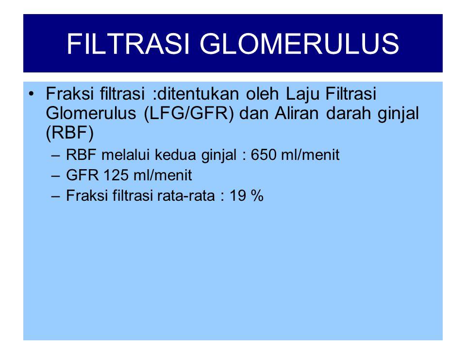 FILTRASI GLOMERULUS •Fraksi filtrasi :ditentukan oleh Laju Filtrasi Glomerulus (LFG/GFR) dan Aliran darah ginjal (RBF) –RBF melalui kedua ginjal : 650