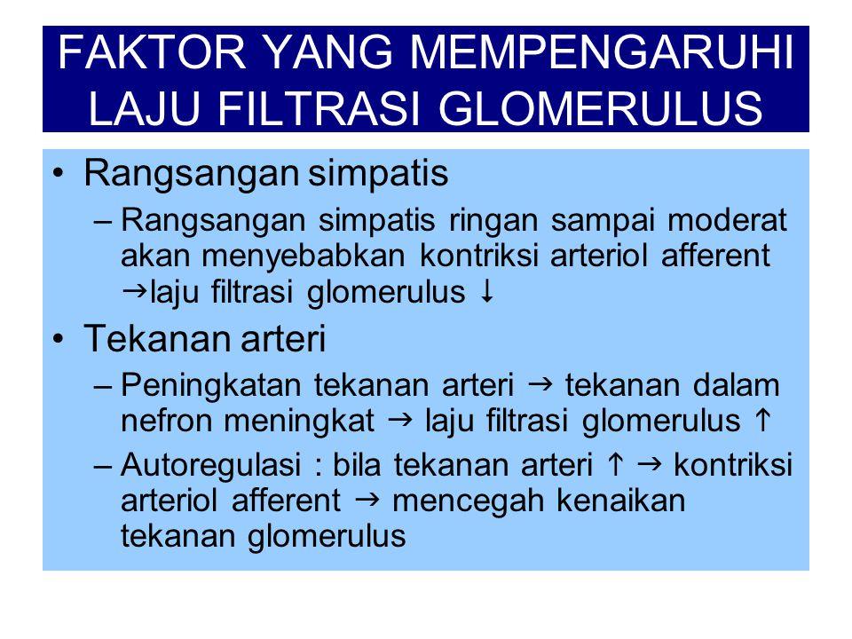 FAKTOR YANG MEMPENGARUHI LAJU FILTRASI GLOMERULUS •Rangsangan simpatis –Rangsangan simpatis ringan sampai moderat akan menyebabkan kontriksi arteriol