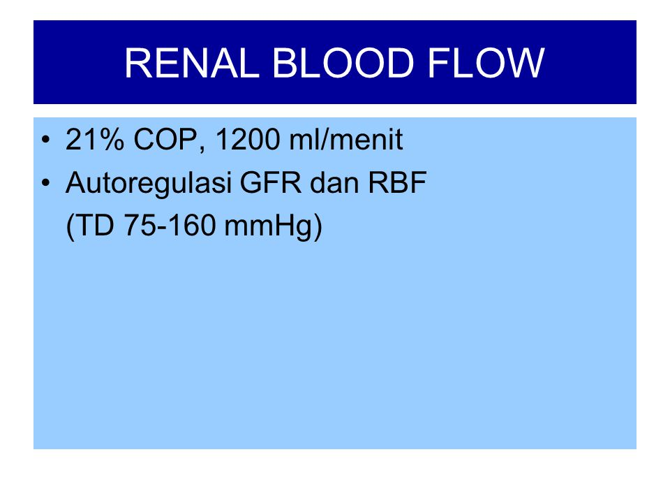 RENAL BLOOD FLOW •21% COP, 1200 ml/menit •Autoregulasi GFR dan RBF (TD 75-160 mmHg)
