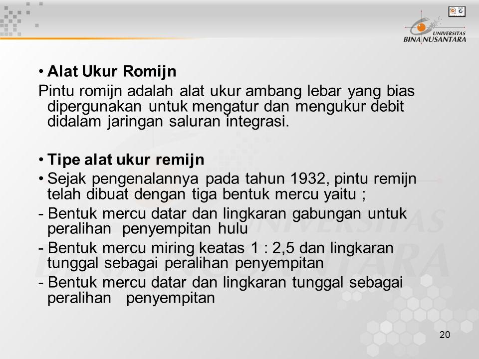 20 •Alat Ukur Romijn Pintu romijn adalah alat ukur ambang lebar yang bias dipergunakan untuk mengatur dan mengukur debit didalam jaringan saluran inte