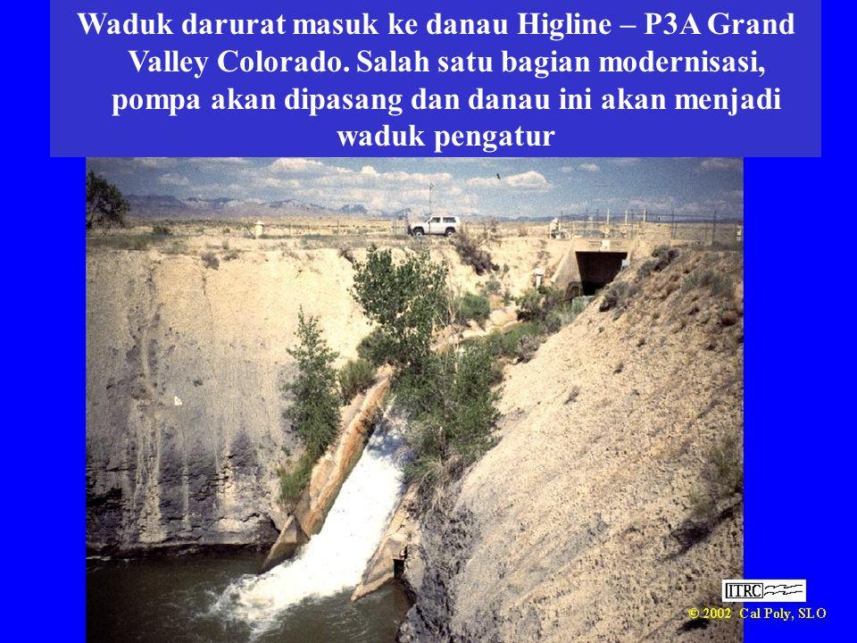 Waduk darurat masuk ke danau Higline – P3A Grand Valley Colorado. Salah satu bagian modernisasi, pompa akan dipasang dan danau ini akan menjadi waduk