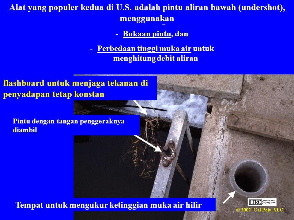 Alat yang populer kedua di U.S. adalah pintu aliran bawah (undershot), menggunakan -Bukaan pintu, dan -Perbedaan tinggi muka air untuk menghitung debi