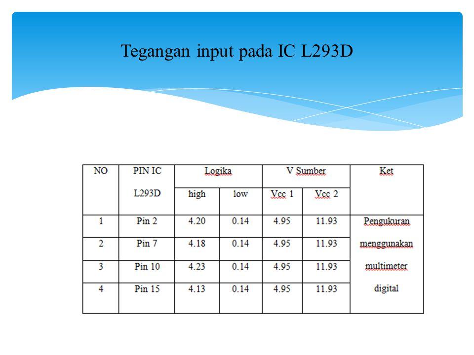 Tegangan input pada IC L293D
