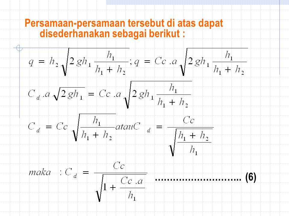 Persamaan-persamaan tersebut di atas dapat disederhanakan sebagai berikut : ……………………….. (6)
