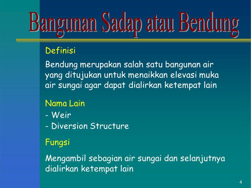 Definisi Bendung merupakan salah satu bangunan air yang ditujukan untuk menaikkan elevasi muka air sungai agar dapat dialirkan ketempat lain Nama Lain