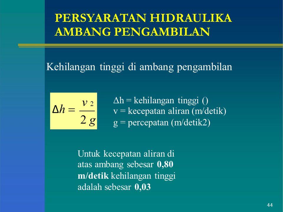 PERSYARATAN HIDRAULIKA AMBANG PENGAMBILAN Kehilangan tinggi di ambang pengambilan Δ h  v 2 2 g Δh = kehilangan tinggi () v = kecepatan aliran (m/deti