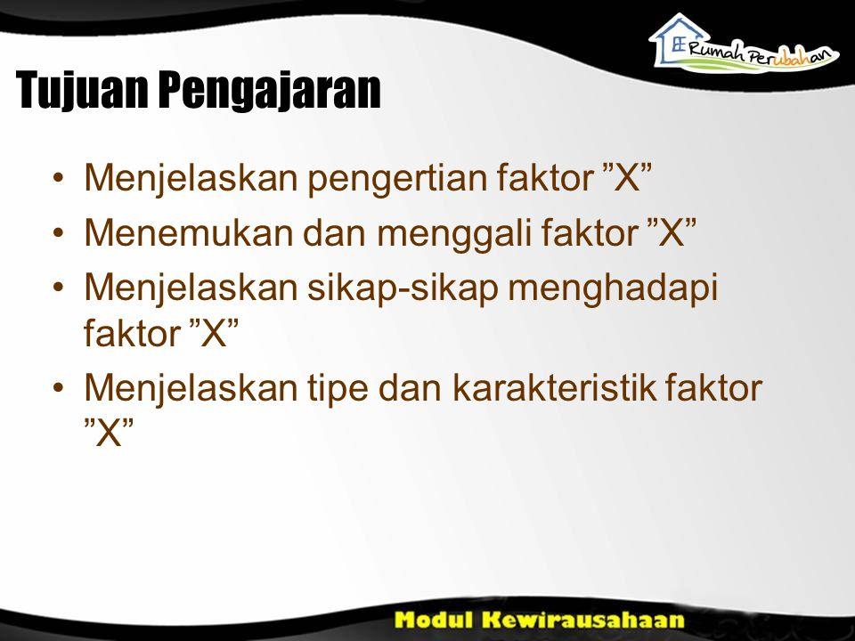 Tujuan Pengajaran •Menjelaskan pengertian faktor X •Menemukan dan menggali faktor X •Menjelaskan sikap-sikap menghadapi faktor X •Menjelaskan tipe dan karakteristik faktor X