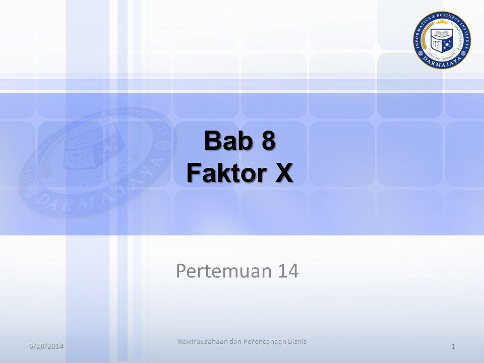 6/28/20141 Kewirausahaan dan Perencanaan Bisnis Bab 8 Faktor X Pertemuan 14