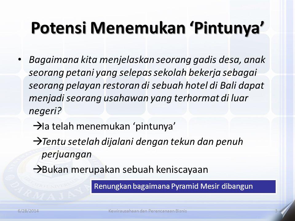 Potensi Menemukan 'Pintunya' 6/28/2014Kewirausahaan dan Perencanaan Bisnis3 • Bagaimana kita menjelaskan seorang gadis desa, anak seorang petani yang