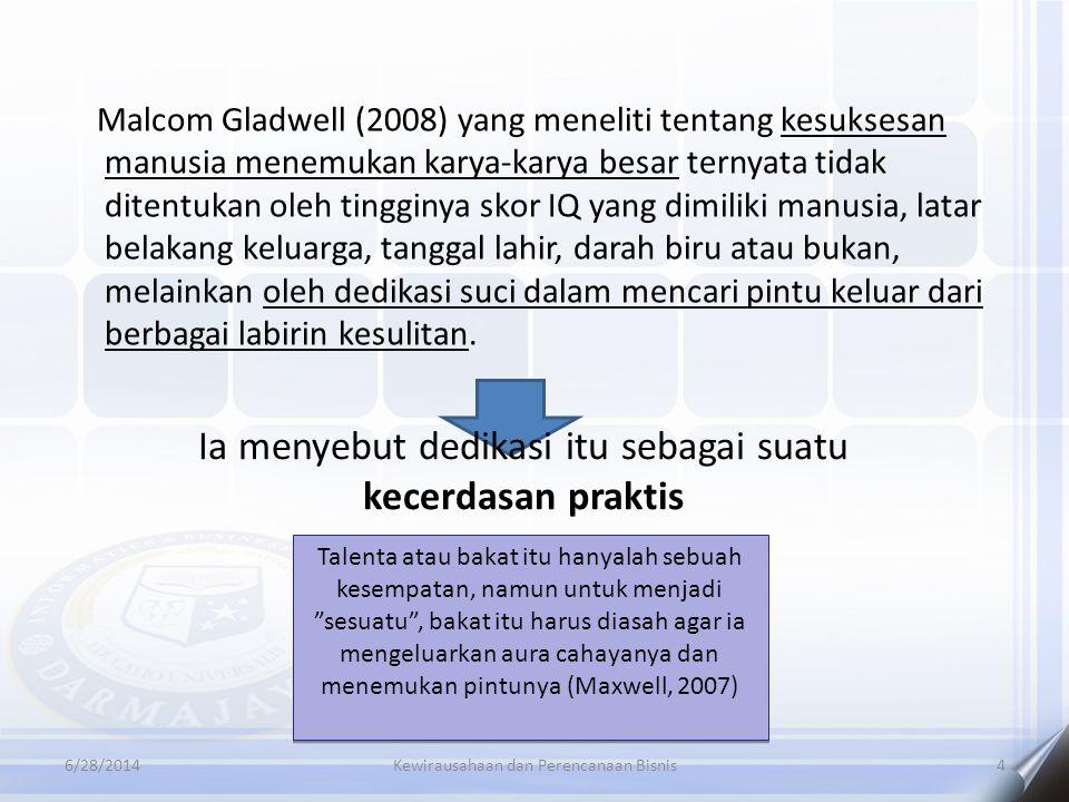6/28/2014Kewirausahaan dan Perencanaan Bisnis4 Malcom Gladwell (2008) yang meneliti tentang kesuksesan manusia menemukan karya-karya besar ternyata ti