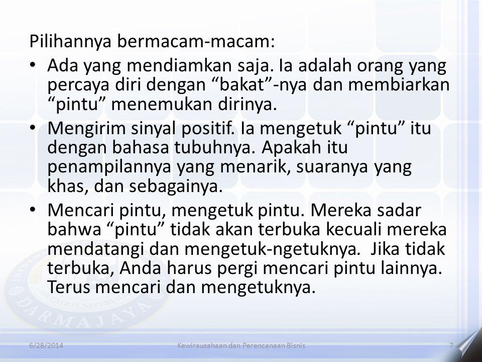 """6/28/2014Kewirausahaan dan Perencanaan Bisnis7 Pilihannya bermacam-macam: • Ada yang mendiamkan saja. Ia adalah orang yang percaya diri dengan """"bakat"""""""