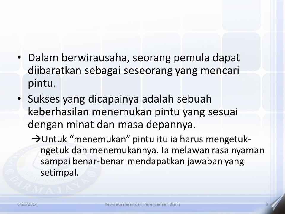 6/28/2014Kewirausahaan dan Perencanaan Bisnis8 • Dalam berwirausaha, seorang pemula dapat diibaratkan sebagai seseorang yang mencari pintu. • Sukses y