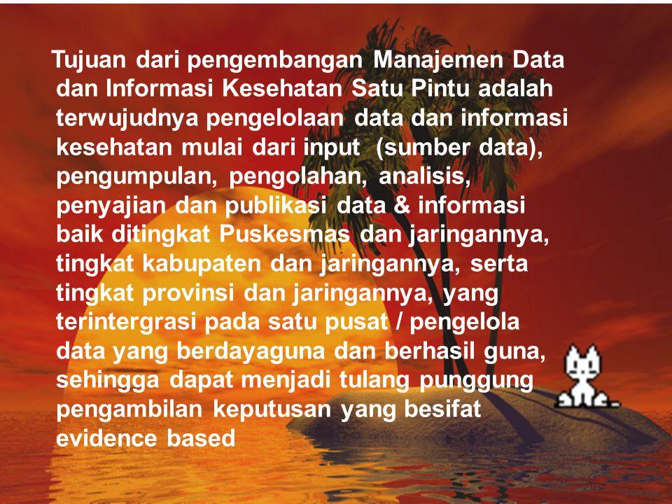 Tujuan dari pengembangan Manajemen Data dan Informasi Kesehatan Satu Pintu adalah terwujudnya pengelolaan data dan informasi kesehatan mulai dari inpu