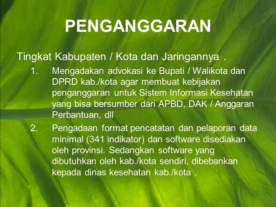 PENGANGGARAN Tingkat Kabupaten / Kota dan Jaringannya.
