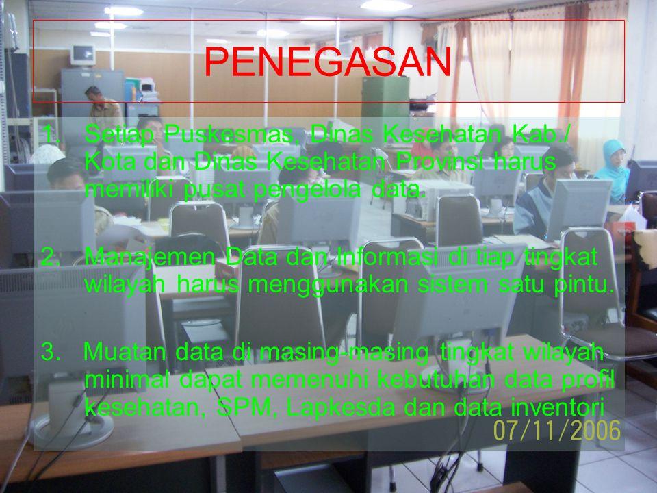 PENEGASAN 1.Setiap Puskesmas, Dinas Kesehatan Kab./ Kota dan Dinas Kesehatan Provinsi harus memiliki pusat pengelola data. 2.Manajemen Data dan Inform