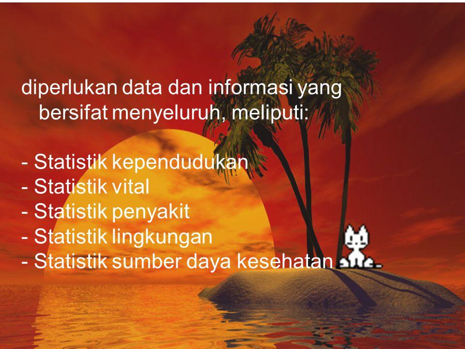 diperlukan data dan informasi yang bersifat menyeluruh, meliputi: - Statistik kependudukan - Statistik vital - Statistik penyakit - Statistik lingkungan - Statistik sumber daya kesehatan