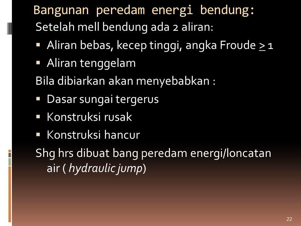 Bangunan peredam energi bendung: Setelah mell bendung ada 2 aliran:  Aliran bebas, kecep tinggi, angka Froude > 1  Aliran tenggelam Bila dibiarkan a