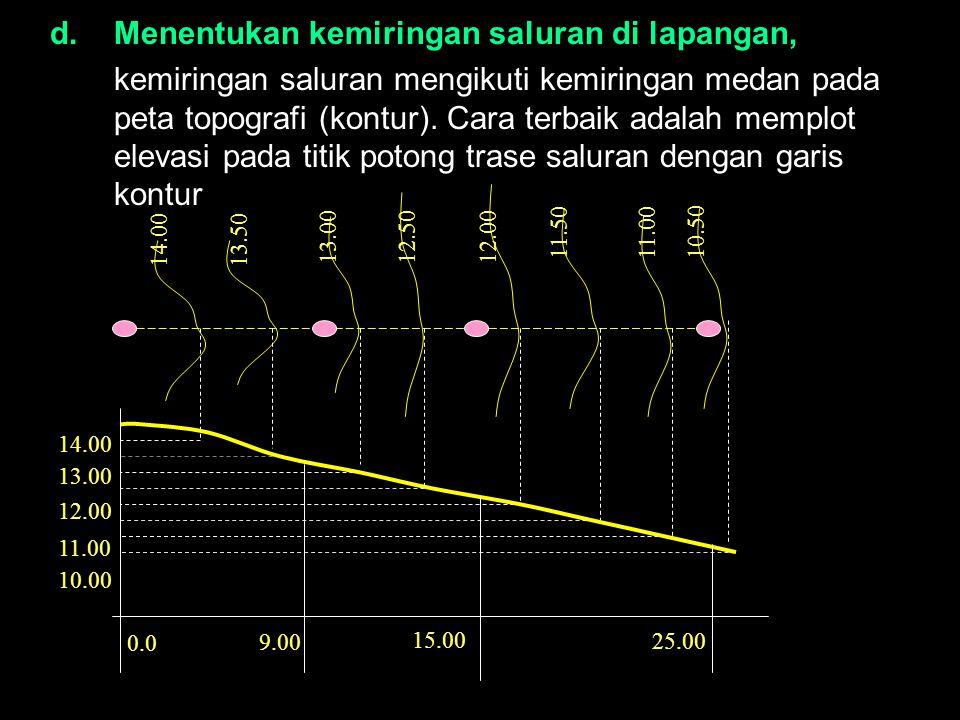 d.Menentukan kemiringan saluran di lapangan, kemiringan saluran mengikuti kemiringan medan pada peta topografi (kontur). Cara terbaik adalah memplot e