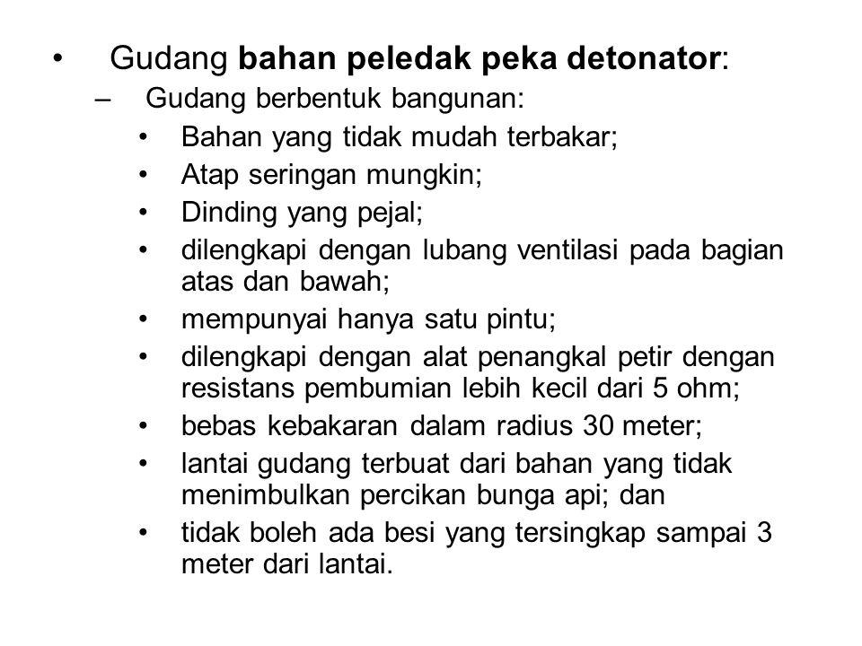 •Gudang bahan peledak peka detonator: –Gudang berbentuk bangunan: •Bahan yang tidak mudah terbakar; •Atap seringan mungkin; •Dinding yang pejal; •dile