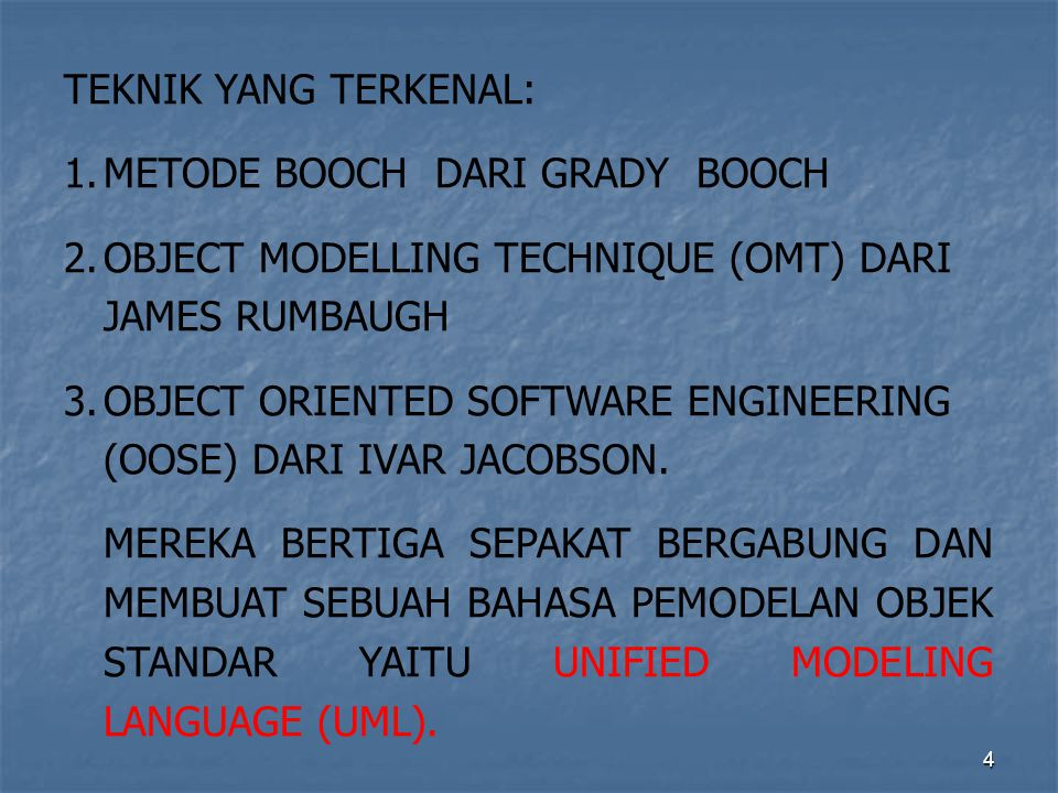 4 TEKNIK YANG TERKENAL: 1.METODE BOOCH DARI GRADY BOOCH 2.OBJECT MODELLING TECHNIQUE (OMT) DARI JAMES RUMBAUGH 3.OBJECT ORIENTED SOFTWARE ENGINEERING (OOSE) DARI IVAR JACOBSON.