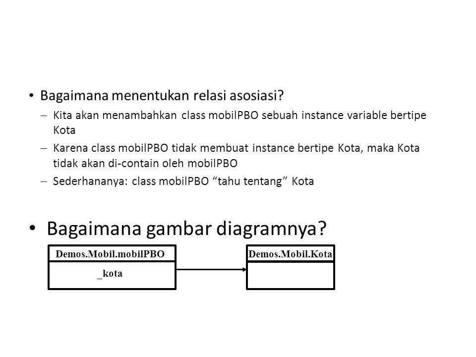 • Bagaimana menentukan relasi asosiasi? – Kita akan menambahkan class mobilPBO sebuah instance variable bertipe Kota – Karena class mobilPBO tidak mem
