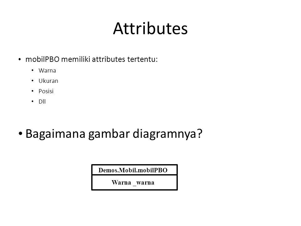 Attributes • mobilPBO memiliki attributes tertentu: • Warna • Ukuran • Posisi • Dll • Bagaimana gambar diagramnya? Demos.Mobil.mobilPBO Warna _warna