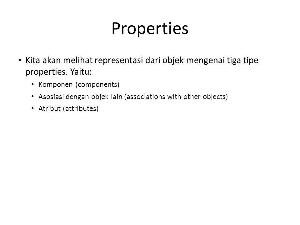 Properties • Kita akan melihat representasi dari objek mengenai tiga tipe properties. Yaitu: • Komponen (components) • Asosiasi dengan objek lain (ass