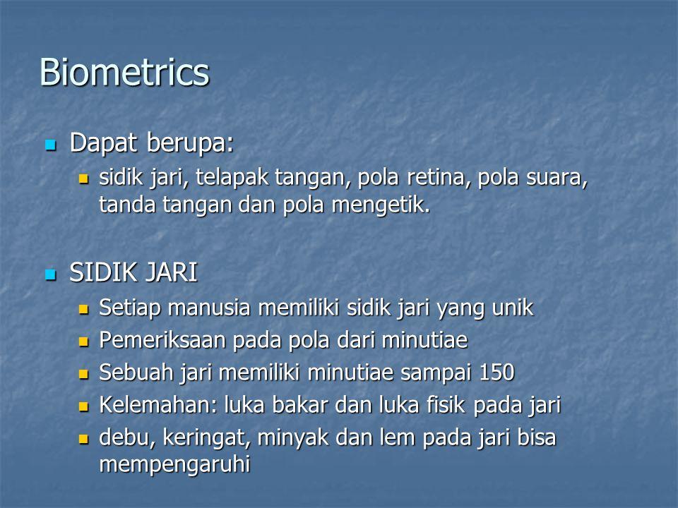Biometrics  Dapat berupa:  sidik jari, telapak tangan, pola retina, pola suara, tanda tangan dan pola mengetik.