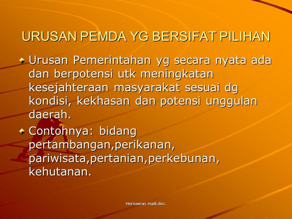 Hernawan Hadi.doc. URUSAN PEMDA YG BERSIFAT PILIHAN Urusan Pemerintahan yg secara nyata ada dan berpotensi utk meningkatan kesejahteraan masyarakat se