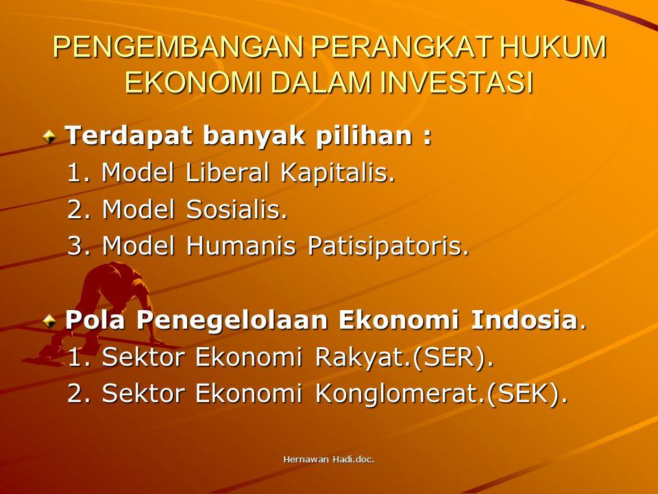 Hernawan Hadi.doc. PENGEMBANGAN PERANGKAT HUKUM EKONOMI DALAM INVESTASI Terdapat banyak pilihan : 1. Model Liberal Kapitalis. 1. Model Liberal Kapital