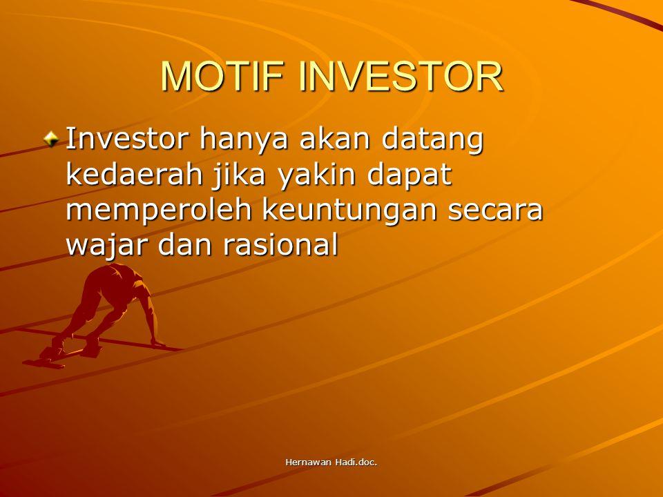 Hernawan Hadi.doc. MOTIF INVESTOR Investor hanya akan datang kedaerah jika yakin dapat memperoleh keuntungan secara wajar dan rasional