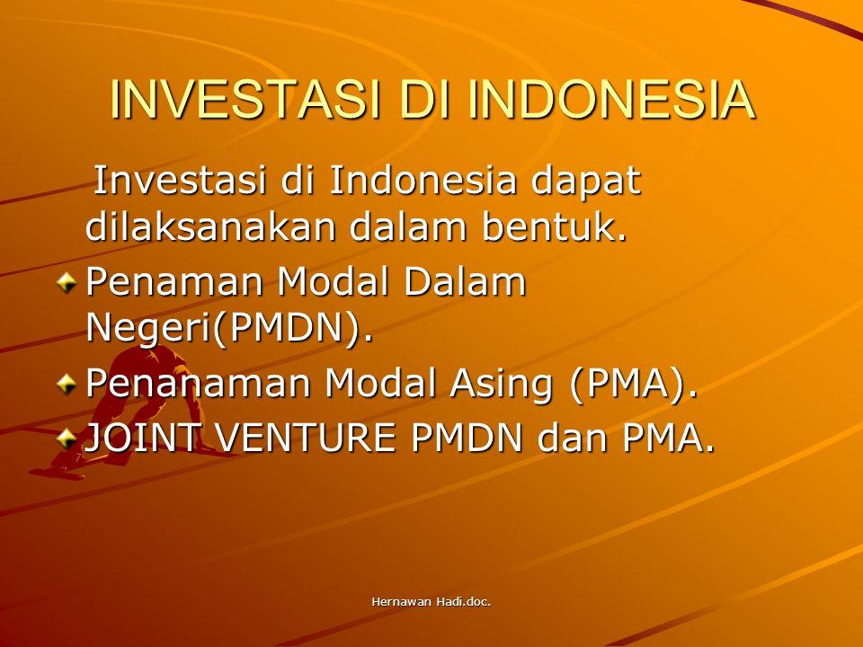 Hernawan Hadi.doc. INVESTASI DI INDONESIA Investasi di Indonesia dapat dilaksanakan dalam bentuk. Investasi di Indonesia dapat dilaksanakan dalam bent