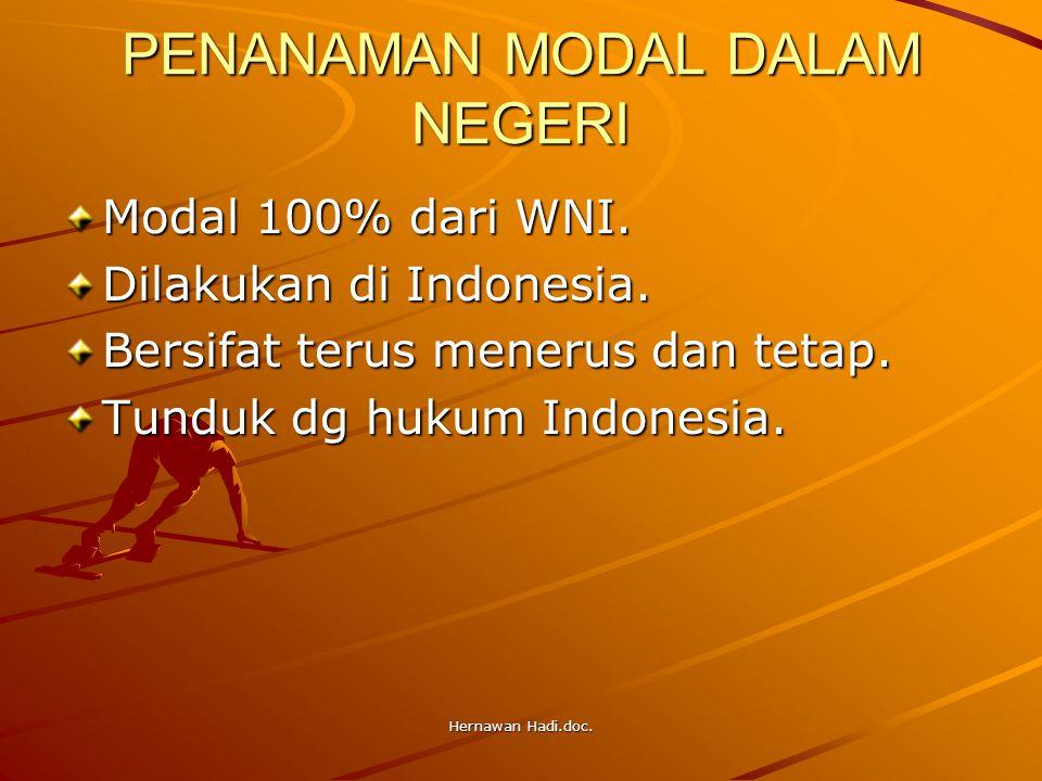 Hernawan Hadi.doc. PENANAMAN MODAL DALAM NEGERI Modal 100% dari WNI. Dilakukan di Indonesia. Bersifat terus menerus dan tetap. Tunduk dg hukum Indones