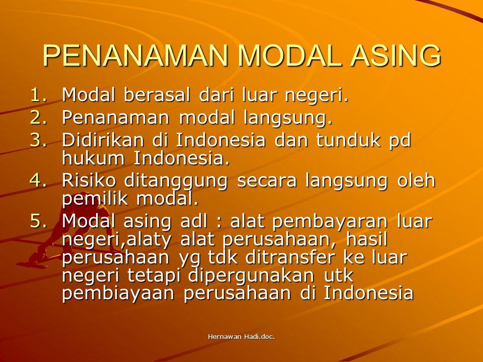 Hernawan Hadi.doc. PENANAMAN MODAL ASING 1.Modal berasal dari luar negeri. 2.Penanaman modal langsung. 3.Didirikan di Indonesia dan tunduk pd hukum In