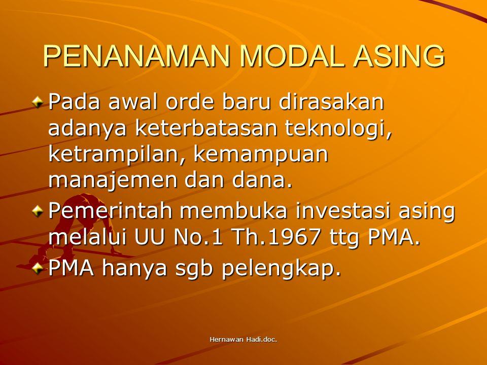 Hernawan Hadi.doc. PENANAMAN MODAL ASING Pada awal orde baru dirasakan adanya keterbatasan teknologi, ketrampilan, kemampuan manajemen dan dana. Pemer