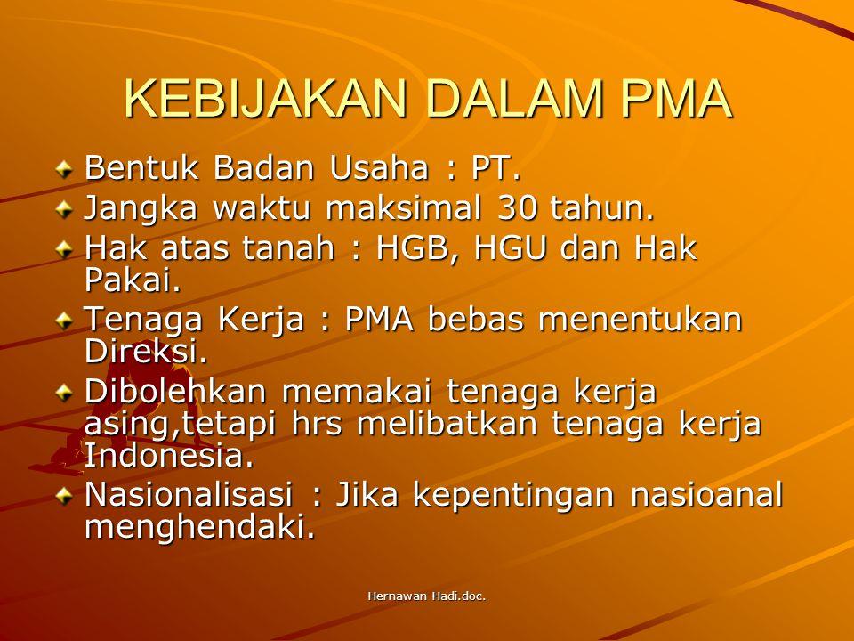 Hernawan Hadi.doc. KEBIJAKAN DALAM PMA Bentuk Badan Usaha : PT. Jangka waktu maksimal 30 tahun. Hak atas tanah : HGB, HGU dan Hak Pakai. Tenaga Kerja