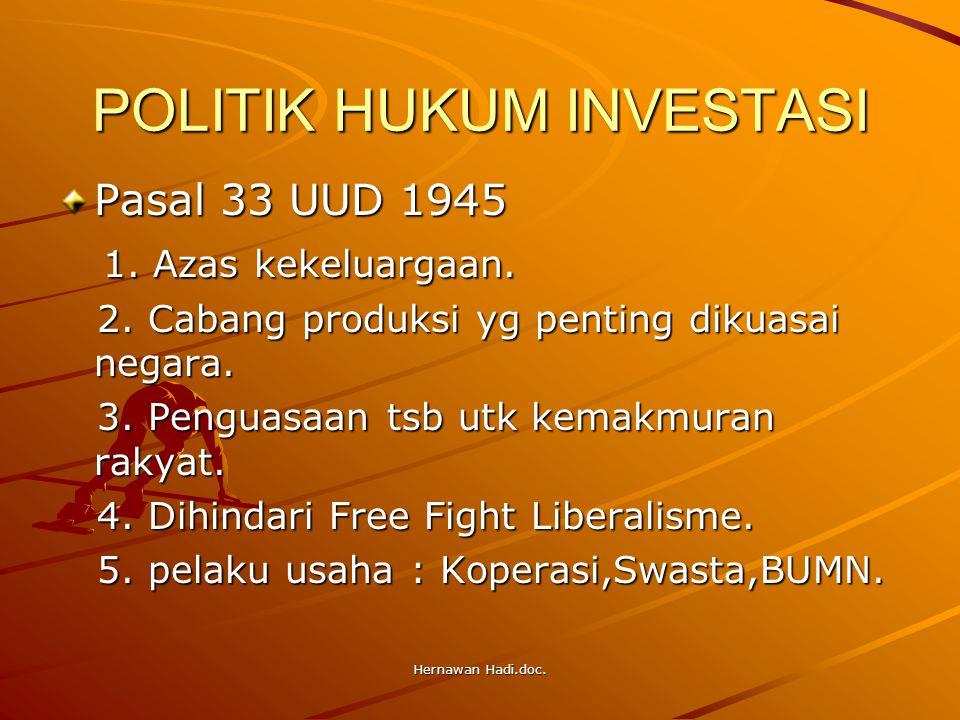 Hernawan Hadi.doc. POLITIK HUKUM INVESTASI Pasal 33 UUD 1945 1. Azas kekeluargaan. 1. Azas kekeluargaan. 2. Cabang produksi yg penting dikuasai negara