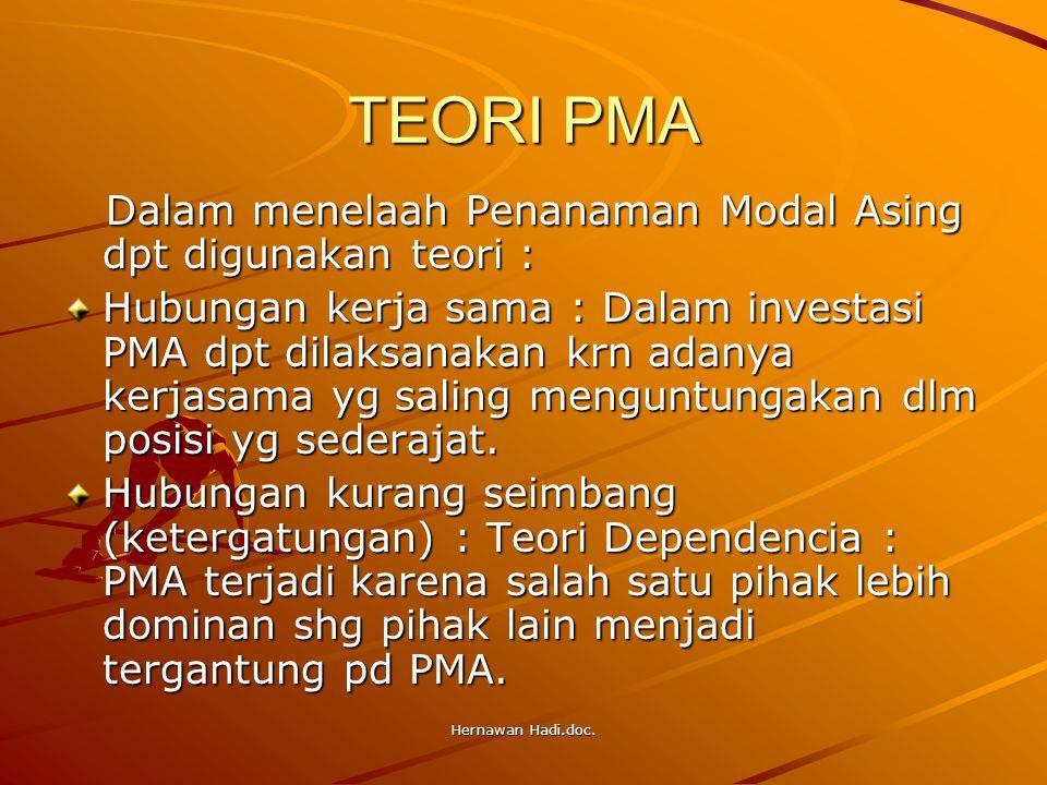 Hernawan Hadi.doc. TEORI PMA Dalam menelaah Penanaman Modal Asing dpt digunakan teori : Dalam menelaah Penanaman Modal Asing dpt digunakan teori : Hub
