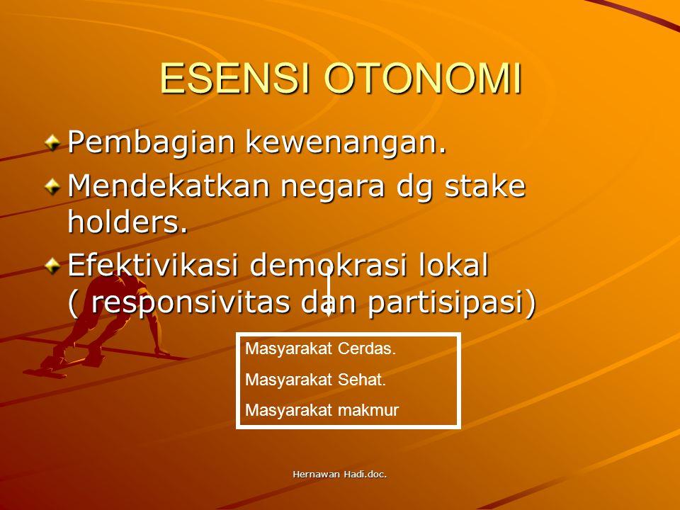 Hernawan Hadi.doc. ESENSI OTONOMI Pembagian kewenangan. Mendekatkan negara dg stake holders. Efektivikasi demokrasi lokal ( responsivitas dan partisip