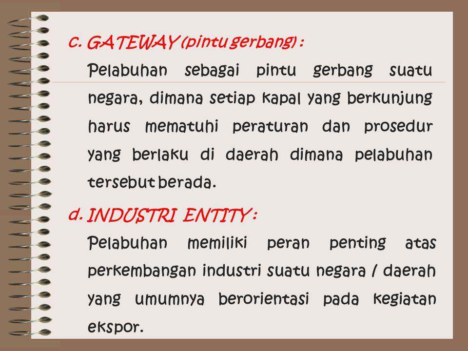 c. GATEWAY (pintu gerbang) : Pelabuhan sebagai pintu gerbang suatu negara, dimana setiap kapal yang berkunjung harus mematuhi peraturan dan prosedur y