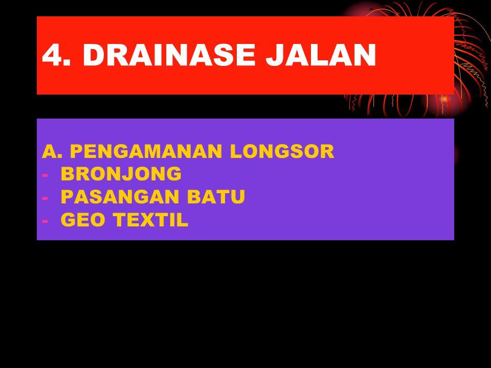 4. DRAINASE JALAN A. PENGAMANAN LONGSOR -BRONJONG -PASANGAN BATU -GEO TEXTIL