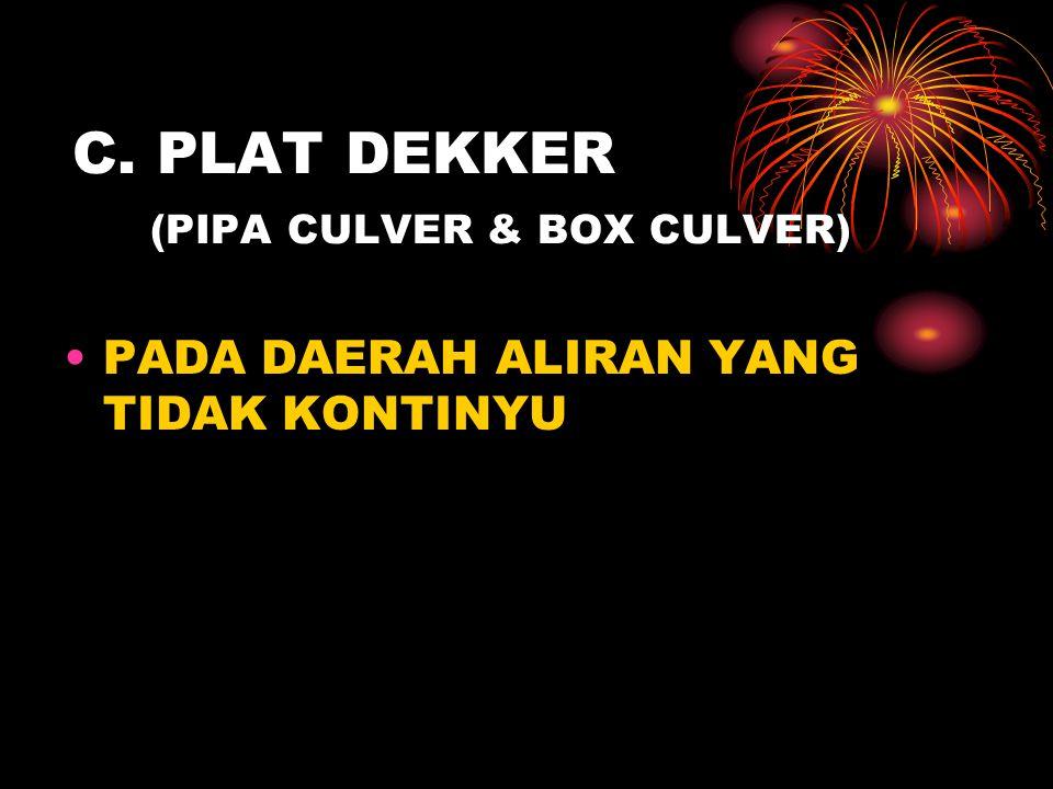 C. PLAT DEKKER (PIPA CULVER & BOX CULVER) •PADA DAERAH ALIRAN YANG TIDAK KONTINYU