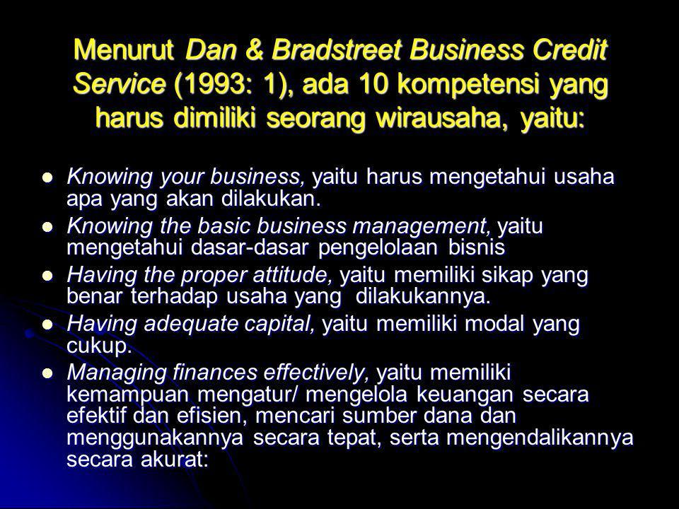 Menurut Dan & Bradstreet Business Credit Service (1993: 1), ada 10 kompetensi yang harus dimiliki seorang wirausaha, yaitu:  Knowing your business, y