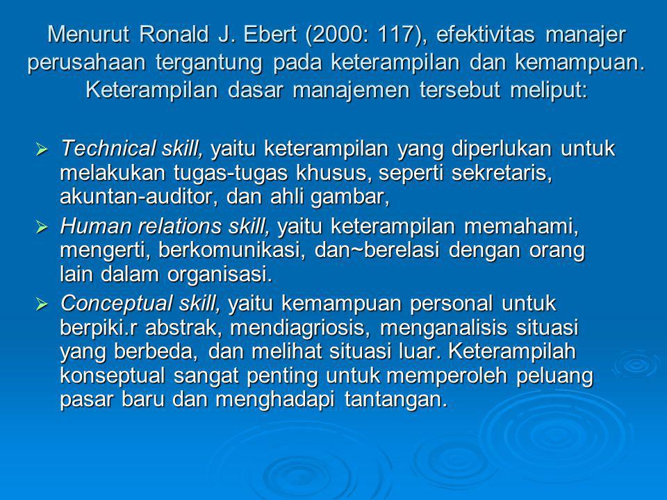 Menurut Ronald J. Ebert (2000: 117), efektivitas manajer perusahaan tergantung pada keterampilan dan kemampuan. Keterampilan dasar manajemen tersebut