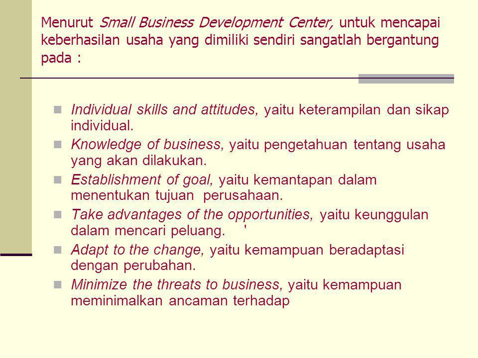 Menurut Small Business Development Center, untuk mencapai keberhasilan usaha yang dimiliki sendiri sangatlah bergantung pada :  Individual skills and