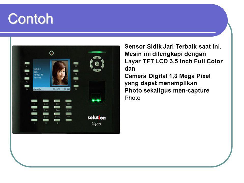Contoh Sensor Sidik Jari Terbaik saat ini. Mesin ini dilengkapi dengan Layar TFT LCD 3,5 Inch Full Color dan Camera Digital 1,3 Mega Pixel yang dapat